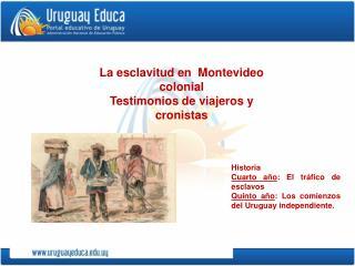 Historia Cuarto año : El tráfico de esclavos Quinto año : Los comienzos del Uruguay independiente.