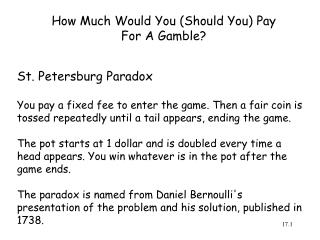 How Much Would You (Should You) Pay For A Gamble?
