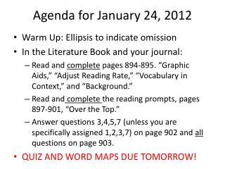 Agenda for January 24, 2012