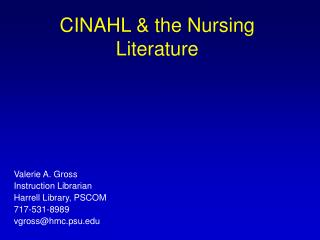 CINAHL & the Nursing Literature
