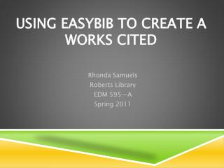 Using EasyBib to create a works Cited