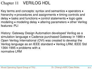 Chapter 11     VERILOG HDL