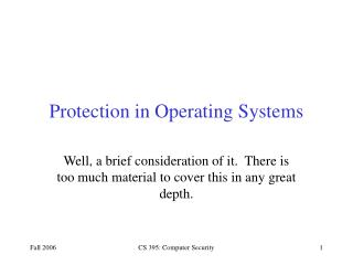 Protection in Operating Systems