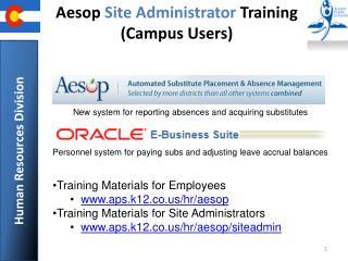 Aesop  Site Administrator  Training (Campus Users)