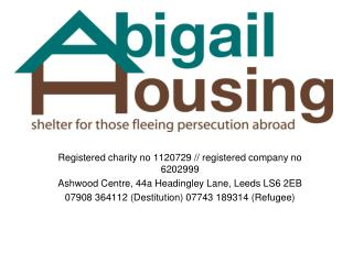 Registered charity no 1120729 // registered company no 6202999