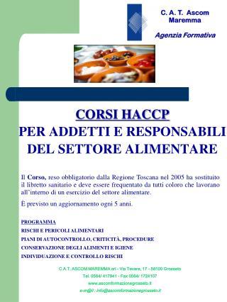 CORSI HACCP PER ADDETTI E RESPONSABILI  DEL SETTORE ALIMENTARE