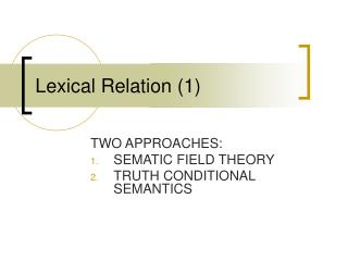 Lexical Relation (1)