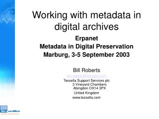 Working with metadata in digital archives