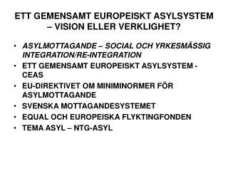 ETT GEMENSAMT EUROPEISKT ASYLSYSTEM – VISION ELLER VERKLIGHET?
