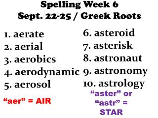 Spelling  Week 6 Sept .  22-25 / Greek Roots