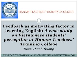 HANAM TEACHERS' TRAINING COLLEGE