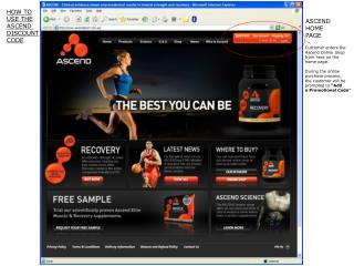 Customer enters the Ascend Online Shop from here on the  home page. During the online