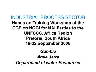 INDUSTRIAL PROCESS SECTOR  Hands on Training Workshop of the CGE on NGGI for NAI Parties to the UNFCCC, Africa Region Pr