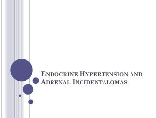 Endocrine Hypertension and Adrenal  Incidentalomas