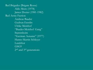 Red Brigades (Brigate Rosse) Aldo Moro (1978) James Dozier (1981-1982) Red Army Faction