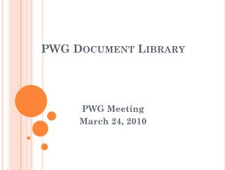 PWG Document Library