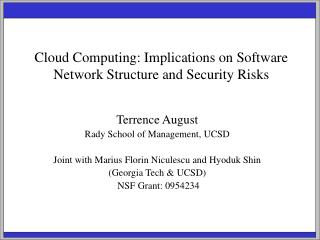 Cloud Computing: Implications on Software Network Structure and Security Risks