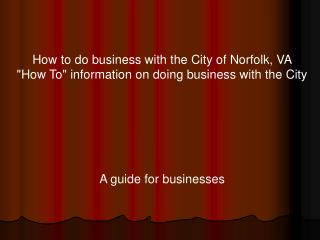 How to do business with the City of Norfolk, VA