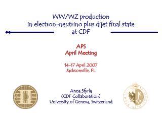 WW/WZ production  in electron-neutrino plus dijet final state  at CDF  APS April Meeting