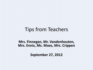 Tips from Teachers