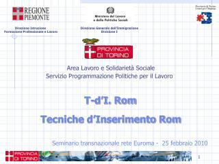 Seminario transnazionale rete Euroma -  25 febbraio 2010