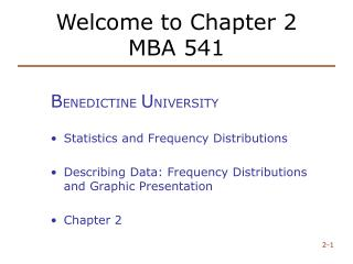 Welcome to Chapter 2 MBA 541