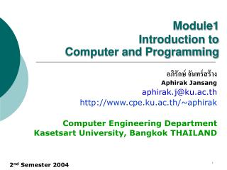 Module1 Introduction to  Computer and Programming