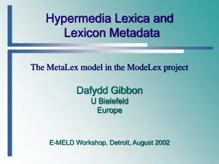 Hypermedia Lexica and Lexicon Metadata