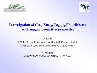 Investigation of Cu 80 (Sm 0.17 Co 0.83 ) 10 Fe 10  ribbons  with magnetoresistive properties