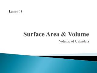 Surface Area & Volume