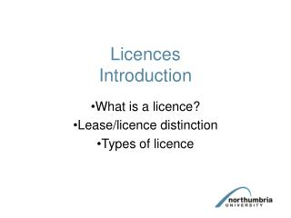 Licences Introduction