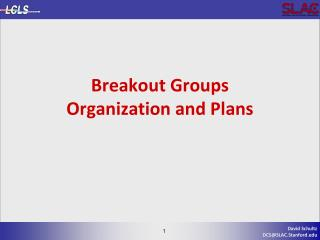 Breakout Groups Organization and Plans