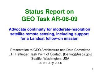 Presentation to GEO Architecture and Data Committee