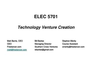 ELEC 5701 Technology Venture Creation