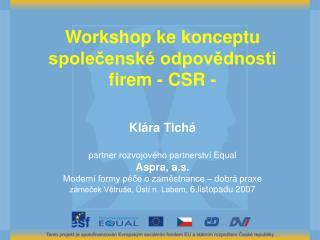 Workshop  ke konceptu spole?ensk� odpov?dnosti firem - CSR - Kl�ra Tich�