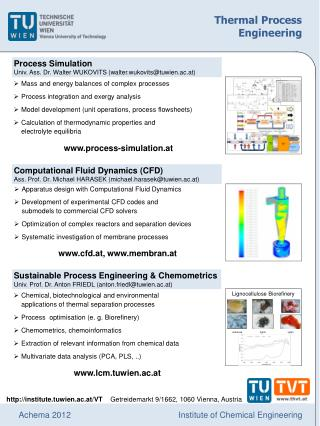 Process Simulation Univ. Ass. Dr. Walter WUKOVITS (walter.wukovits@tuwien.ac.at)