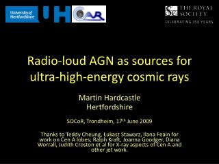 Radio-loud AGN as sources for ultra-high-energy cosmic rays