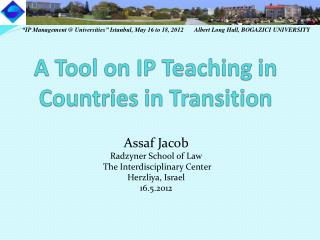 A Tool on IP Teaching in Countries in Transition