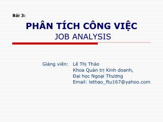 PH�N T�CH C�NG VI?C   JOB ANALYSIS