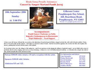 Hindu Samaj Proudly Announces Concert by Sangeet Martand Pandit Jasraj