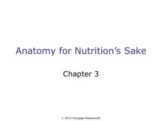 Anatomy for Nutrition's Sake