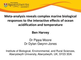 Marine biological responses to ocean acidification and temp