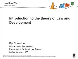 Introduction to the theory of Law and Development