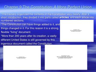 Chapter 9 The Constitution: A More Perfect Union