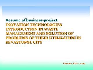 Resume of business-project :