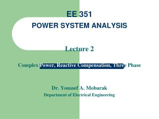EE 351 POWER SYSTEM ANALYSIS