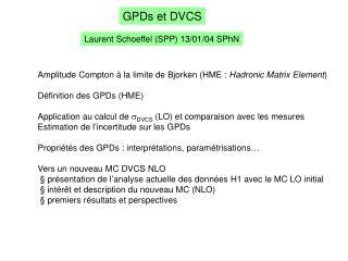 GPDs et DVCS
