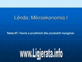 Tema 0 7: Teoria e prodhimit dhe produktit margjinal