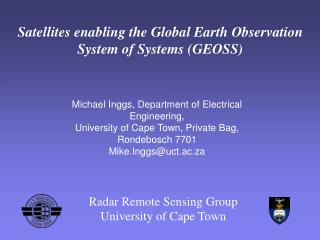Satellites enabling the Global Earth Observation System of Systems (GEOSS)