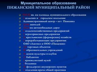 Муниципальное образование ПИЖАНСКИЙ МУНИЦИПАЛЬНЫЙ РАЙОН